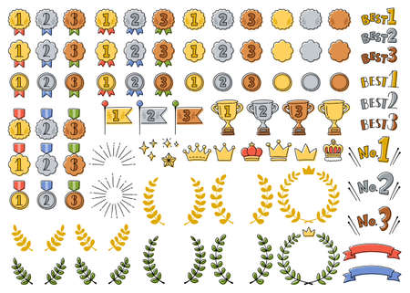 A set of cute hand-painted ranking icons such as medals, crowns and trophies.