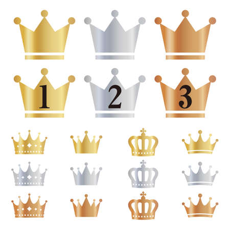 Gold, silver and bronze ranking crown icon variation set.Entering the numbers of 1st, 2nd and 3rd.
