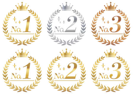 A set of laurel wreaths for gold, silver and bronze rankings. Entering a number.