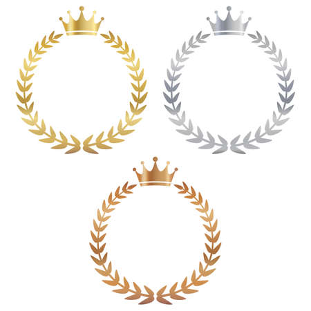 A set of three types of ranking laurel wreaths: gold, silver, and bronze.