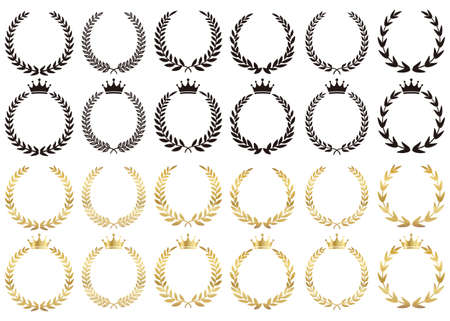 A variation set of gold and black silhouettes of the ranking laurel crown.