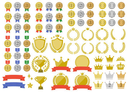 A set of ranking icons with a simple design such as medals, crowns and trophies.