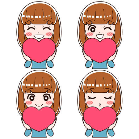 A set of four facial expressions of a girl who smiles happily with a heart symbol.