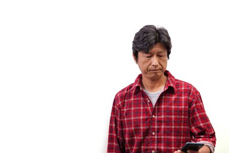 Japanese man photographed on white background