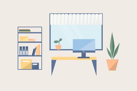 평면 스타일의 근무 장소. 테이블, 꽃 냄비, 창, 도서와 선반 방.