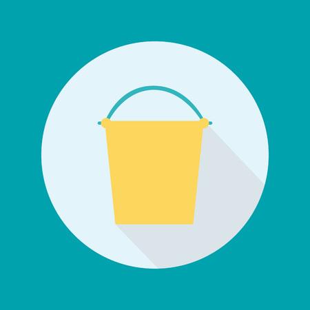 벡터 양동이 평면 아이콘. 파란색 배경에 서클에서 노란색 양동이입니다.