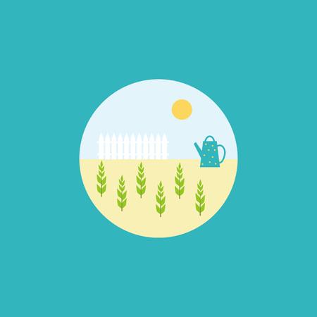 벡터 공장 아이콘을 플랫. 파란색 배경에 서클에서 젊은 식물 정원 그림.