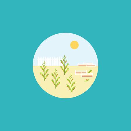 벡터 공장 아이콘을 플랫. 파란색 배경에 원 안에 식물 그림 정원. 일러스트