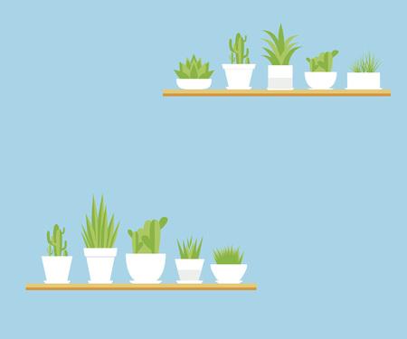 벡터 houseplants 플랫 세트입니다. 파란색 배경에 냄비에 꽃 일러스트