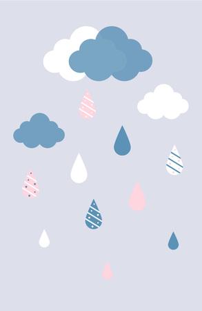 비가와 벡터 평면 파란색과 흰색 구름 회색 배경에 삭제합니다. 다채로운 물 장식으로 삭제합니다.
