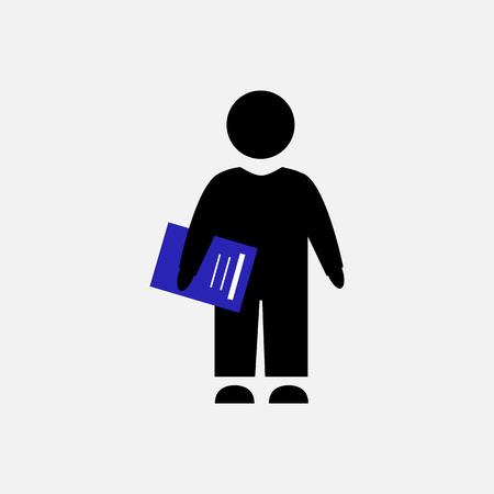 벡터 아이콘입니다. 사업가 또는 파란색 노트북 학생입니다. 회색 배경에 흑인 남성 실루엣입니다. 일러스트