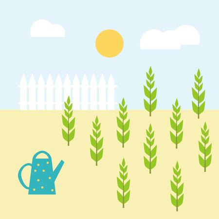 벡터 정원 평면 그림입니다. 젊은 식물을 급수. 식물, 수, 울타리, 태양 및 구름 다채로운 정원 그림.