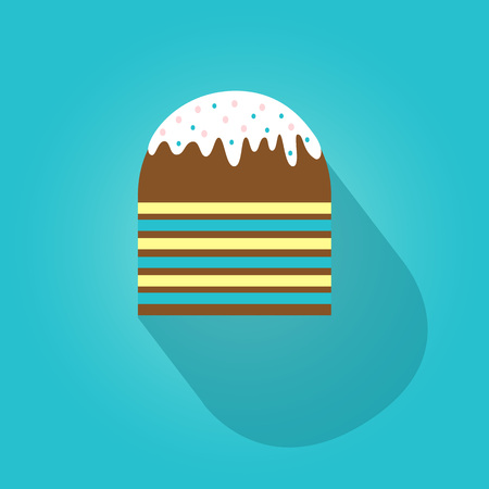 벡터 부활절 케이크 평면 아이콘 절연입니다. 파란색 배경에 그림자와 함께 다채로운 부활절 케이크입니다.