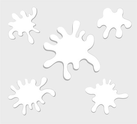 벡터 우유 스플래시 절연입니다. 흰색 배경에 그림자와 함께 상품의 집합입니다. 일러스트