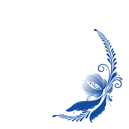 Russian classic ornament in Russian gzhel style. Vector blue flowers and leaves on white background.