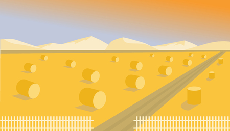 Harvesting flat illustration. Autumn sunshine landscape with mountains. Vector image. 일러스트