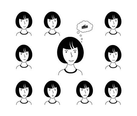 Expression face of woman. Set of cartoon vector illustrations isolated on white background.