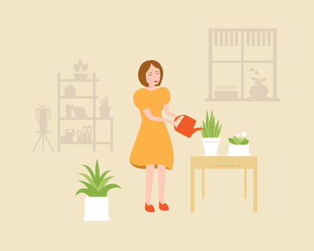 Pretty woman is watering the potted flowers. Vector flat color illustration.