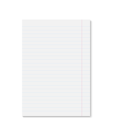 Realistic white paper sheet with blue lines. Single copybook sheet with shadow on white background. Vector template for your design.