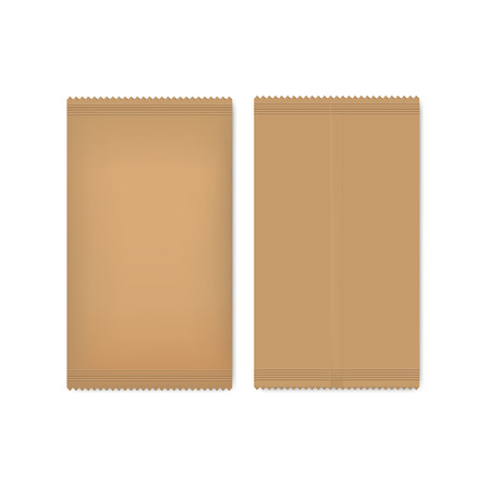 Brown paper package for seeds, sugar or spice. Mock up your design.