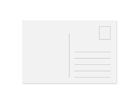 Vector modern blank postcard template with place for stamp, address and message. Realistic mock up isolated on white background with shadow. 일러스트