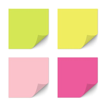 Realistic pink, yellow and green paper sheets with shadow on white background for notes, messages or reminders.
