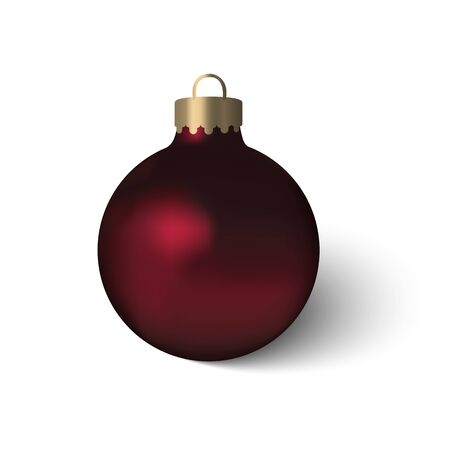 Beautiful red Christmas ball with realistic flame and shadow. 3D mock up of glass Christmas toy isolated on white background. Blank vector template.