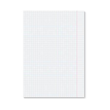 Realistic white paper sheet blue squared. Single copybook sheet with shadow on white background. Vector template for your design.