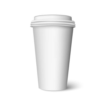 Blank plastic white cup for hot drink. Realistic coffee, tea or chocolate cup with cap. Vector mock up isolated on white background with shadow.