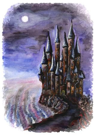 Night castle. Watercolor. Eps 8 Illustration