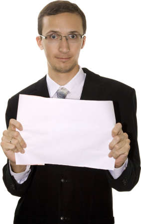 expressing: Young friendly modern man in the suit with the paper