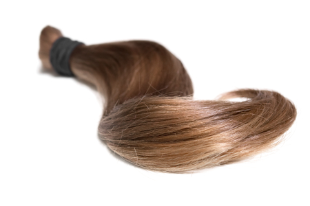 A lock of natural human cut off hair on white background