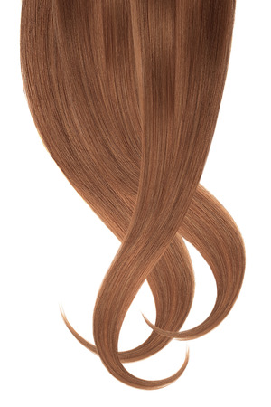 Brown (dark) hair, isolated on white background. Long wavy ponytail