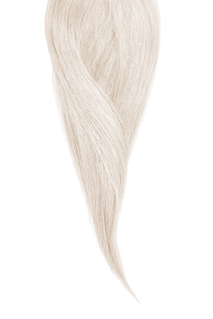 Gray hair, isolated on white background. Long beautiful ponytail Фото со стока