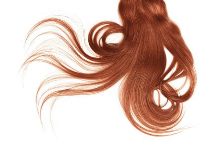Disheveled henna hair isolated on white background Imagens