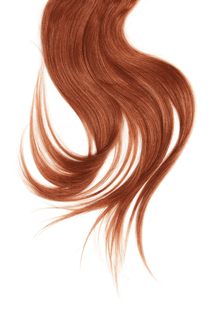 Henna hair, isolated on white background. Long and disheveled ponytail