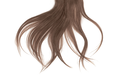 Bad hair day concept. Long, brown, disheveled ponytail