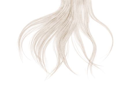 Bad hair day concept. Long, blond, disheveled ponytail Фото со стока
