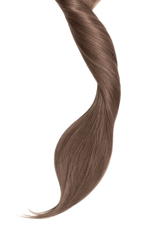 Brown hair, isolated on white background. Long beautiful ponytail