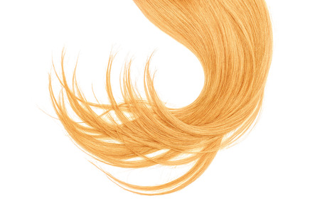 Disheveled blond hair isolated on white background