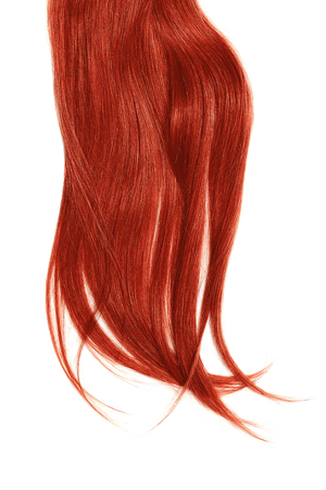 Disheveled red hair isolated on white background Фото со стока