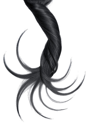 Curl of natural black hair on white background