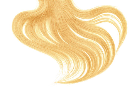 Curl of natural blond hair on white background Фото со стока