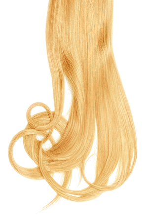 Lush blond hair isolated on white background