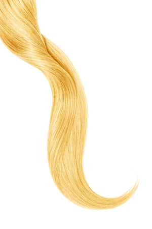 Curl of natural blond hair, isolated on white background 免版税图像