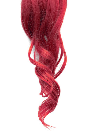 Natural wavy pink hair isolated on white background Фото со стока