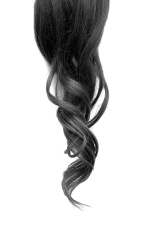 Natural wavy black hair isolated on white background