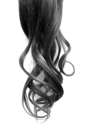 Natural curly black hair isolated on white background
