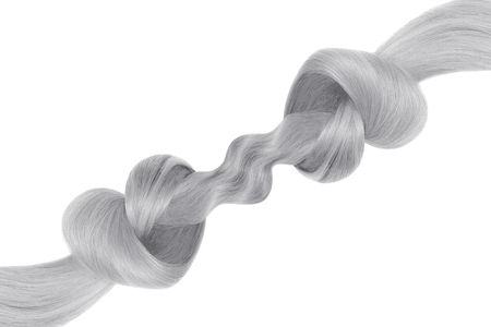 Gray hair knot in shape of heart, isolated on white background. Care concept