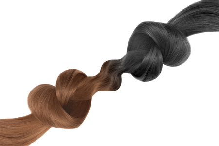 Knots of hair in shape of heart, isolated on white background. Black and brown. Care concept
